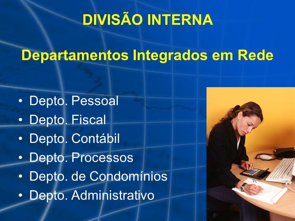 DIVISÃO INTERNA Departamentos Integrados em Rede Depto. Pessoal Depto. Fiscal Depto. Contábil Depto. Processos Depto. de Condomínios Depto. Administra
