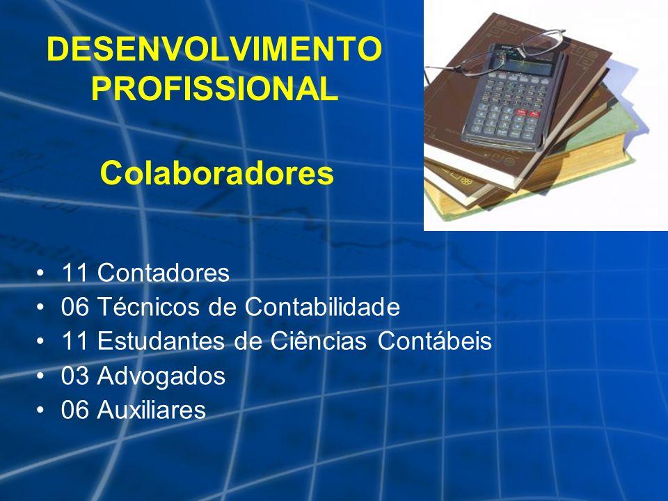 DESENVOLVIMENTO PROFISSIONAL Colaboradores 11 Contadores 06 Técnicos de Contabilidade 11 Estudantes de Ciências Contábeis 03 Advogados 06 Auxiliares