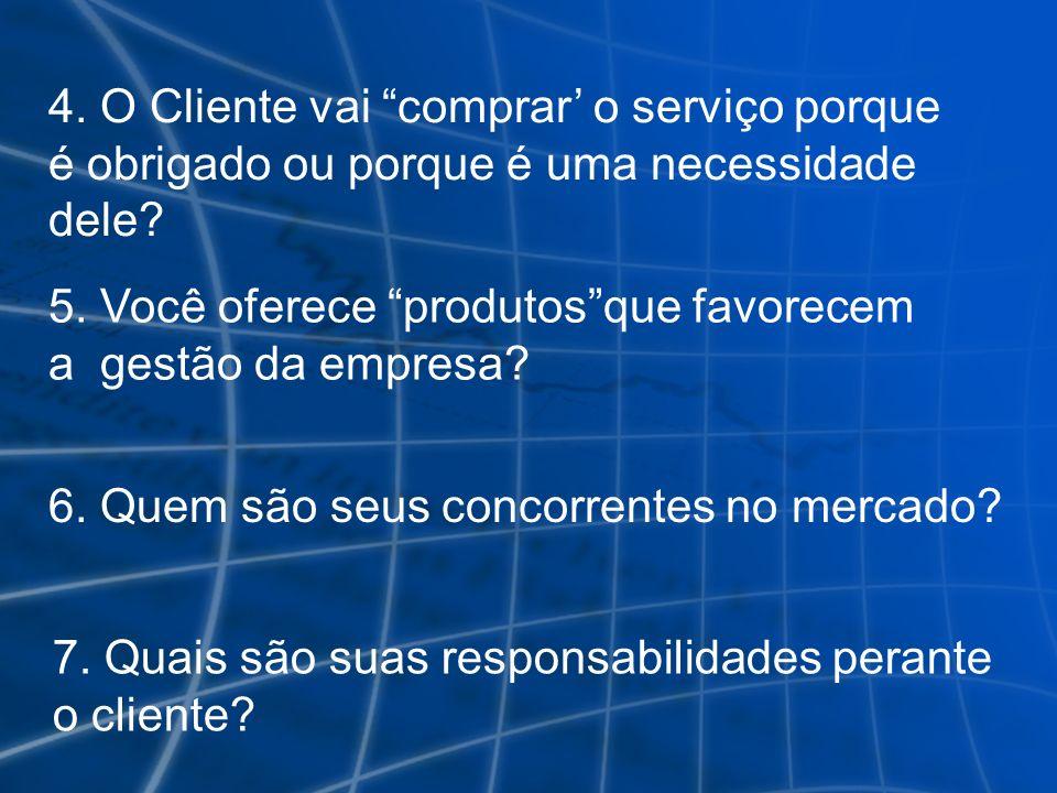 6. Quem são seus concorrentes no mercado? 7. Quais são suas responsabilidades perante o cliente? 5. Você oferece produtosque favorecem a gestão da emp