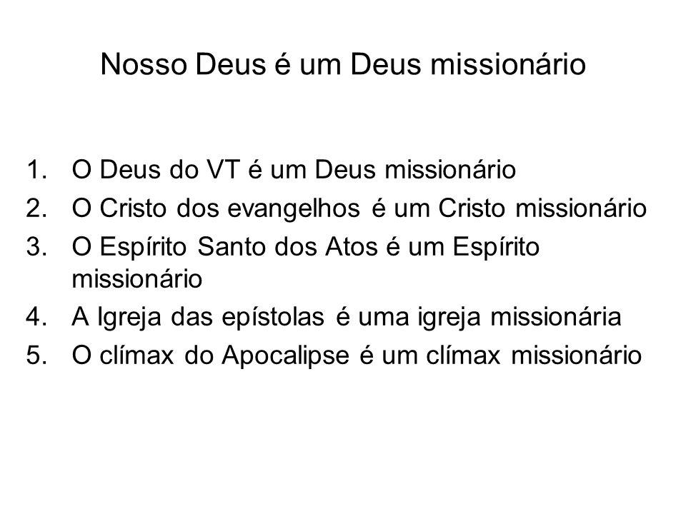 Nosso Deus é um Deus missionário 1.O Deus do VT é um Deus missionário 2.O Cristo dos evangelhos é um Cristo missionário 3.O Espírito Santo dos Atos é