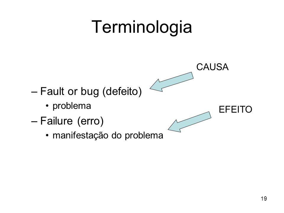 19 Terminologia IEEE STD. 982.2-1988 (http://standards.ieee.org/)http://standards.ieee.org/ –Fault or bug (defeito) problema –Failure (erro) manifesta