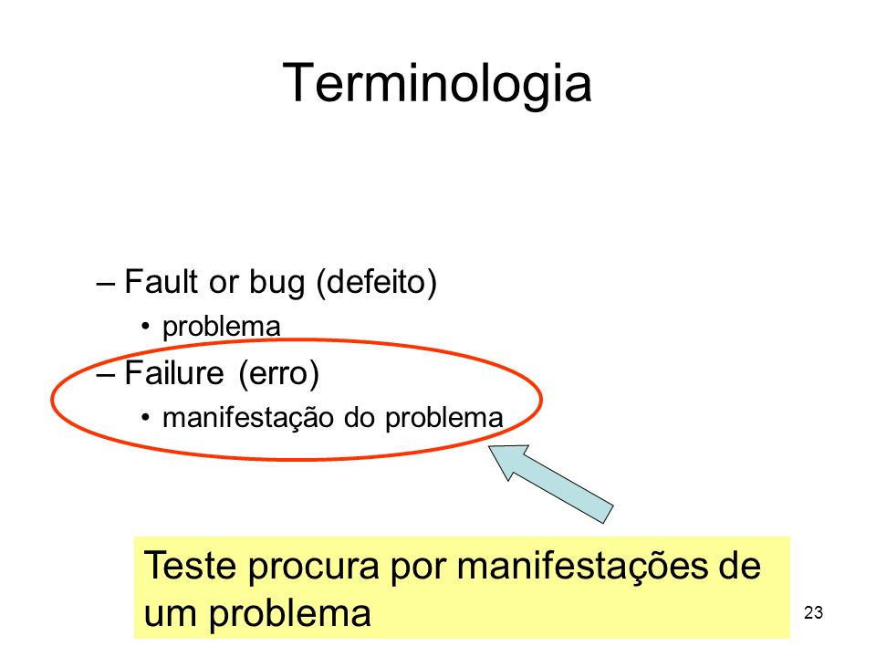 23 Terminologia IEEE STD. 982.2-1988 (http://standards.ieee.org/)http://standards.ieee.org/ –Fault or bug (defeito) problema –Failure (erro) manifesta