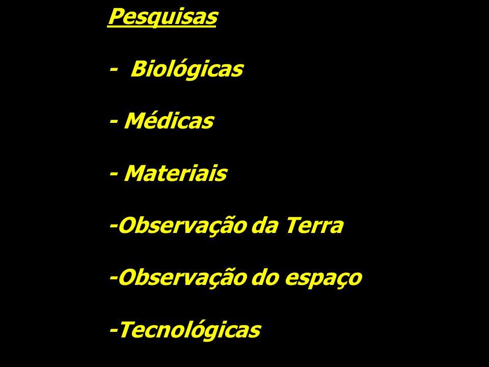 Pesquisas - Biológicas - Médicas - Materiais -Observação da Terra -Observação do espaço -Tecnológicas