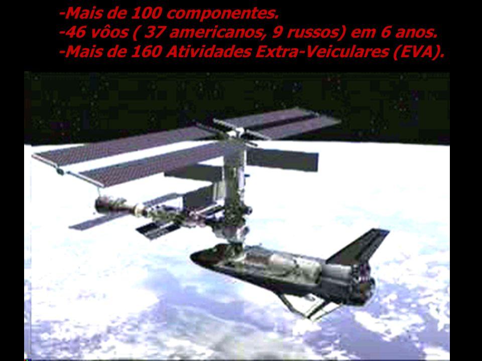 -Mais de 100 componentes. -46 vôos ( 37 americanos, 9 russos) em 6 anos. -Mais de 160 Atividades Extra-Veiculares (EVA).