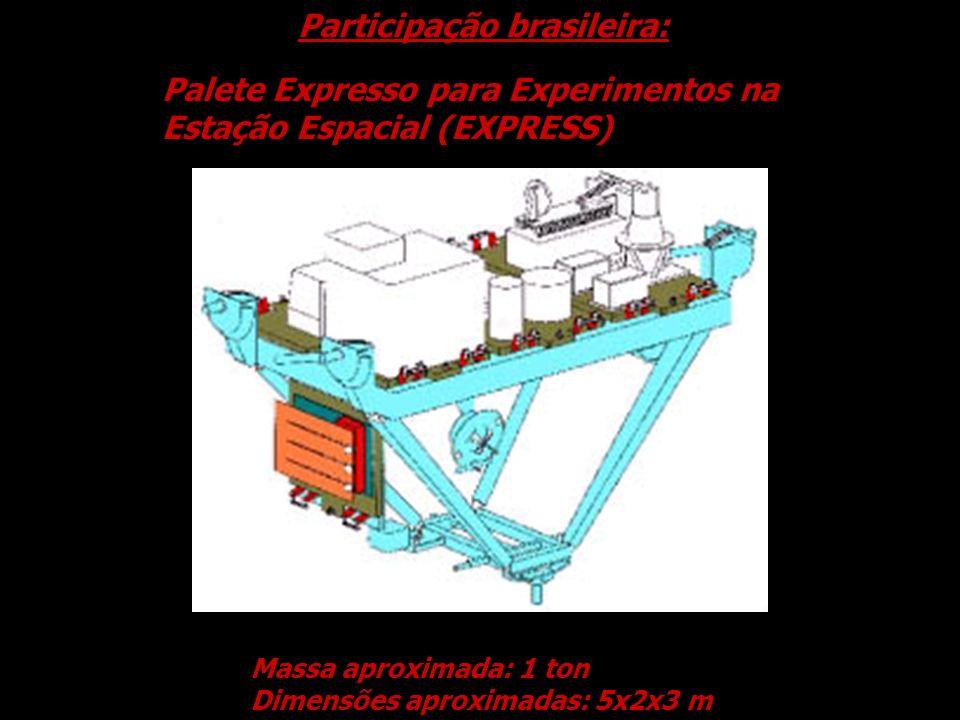 Palete Expresso para Experimentos na Estação Espacial (EXPRESS) Massa aproximada: 1 ton Dimensões aproximadas: 5x2x3 m Participação brasileira: