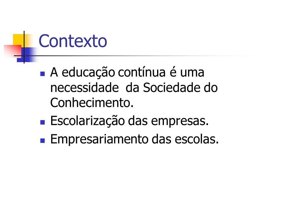 Contexto A educação contínua é uma necessidade da Sociedade do Conhecimento. Escolarização das empresas. Empresariamento das escolas.