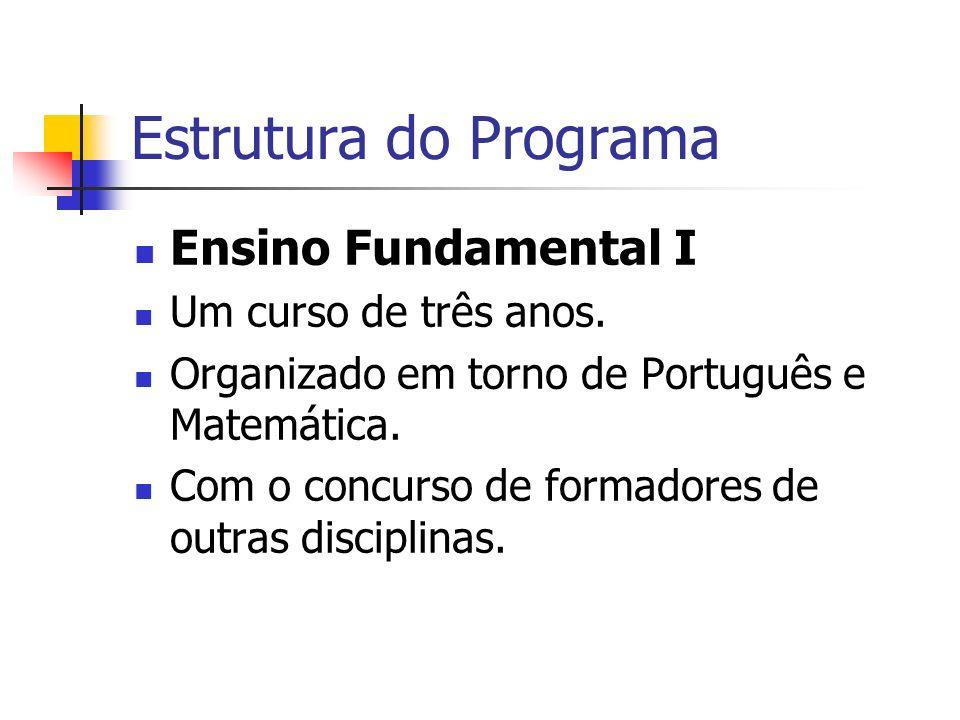 Estrutura do Programa Ensino Fundamental I Um curso de três anos. Organizado em torno de Português e Matemática. Com o concurso de formadores de outra