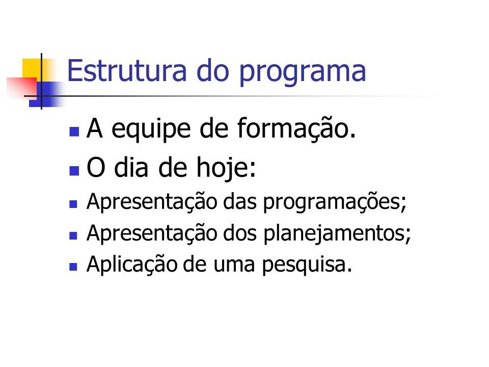 Estrutura do programa A equipe de formação. O dia de hoje: Apresentação das programações; Apresentação dos planejamentos; Aplicação de uma pesquisa.