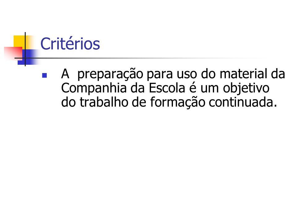 Critérios A preparação para uso do material da Companhia da Escola é um objetivo do trabalho de formação continuada.