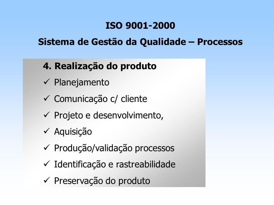 4. Realização do produto Planejamento Comunicação c/ cliente Projeto e desenvolvimento, Aquisição Produção/validação processos Identificação e rastrea
