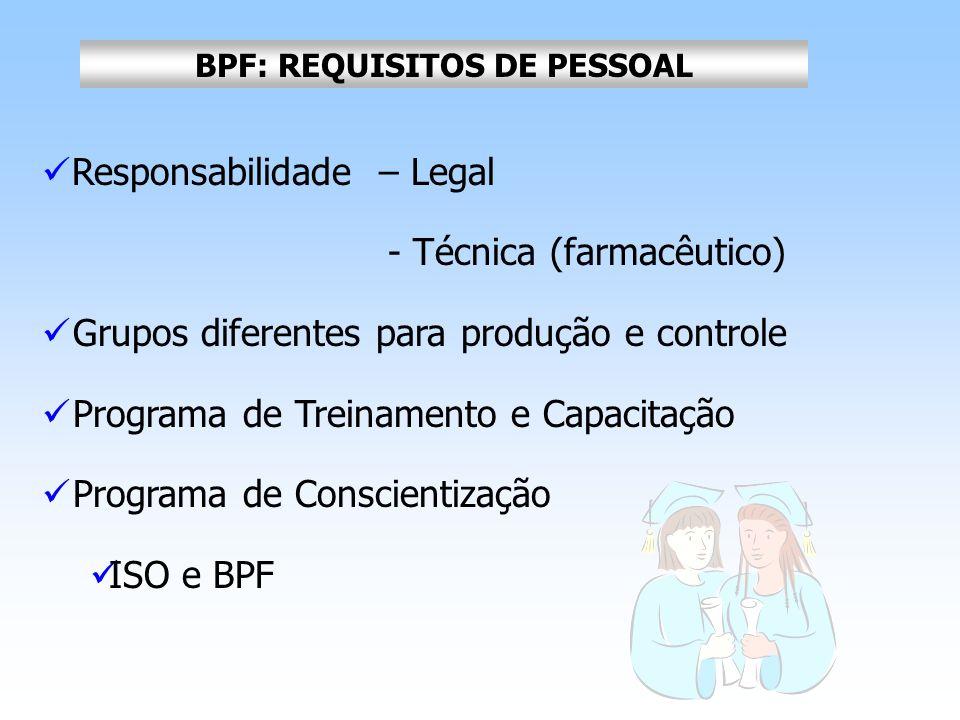 BPF: REQUISITOS DE PESSOAL Responsabilidade – Legal - Técnica (farmacêutico) Grupos diferentes para produção e controle Programa de Treinamento e Capa