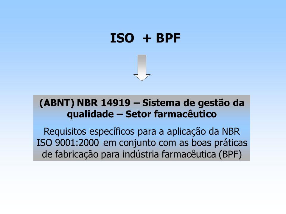 ISO + BPF (ABNT) NBR 14919 – Sistema de gestão da qualidade – Setor farmacêutico Requisitos específicos para a aplicação da NBR ISO 9001:2000 em conju