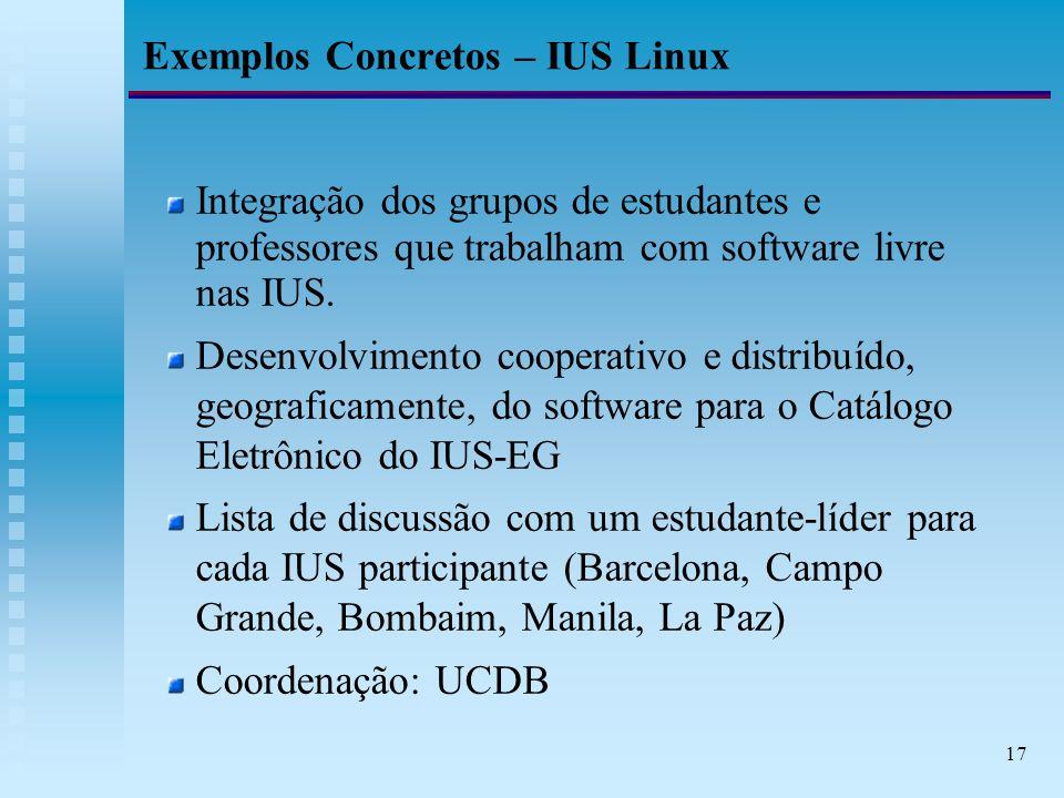 17 Exemplos Concretos – IUS Linux Integração dos grupos de estudantes e professores que trabalham com software livre nas IUS.