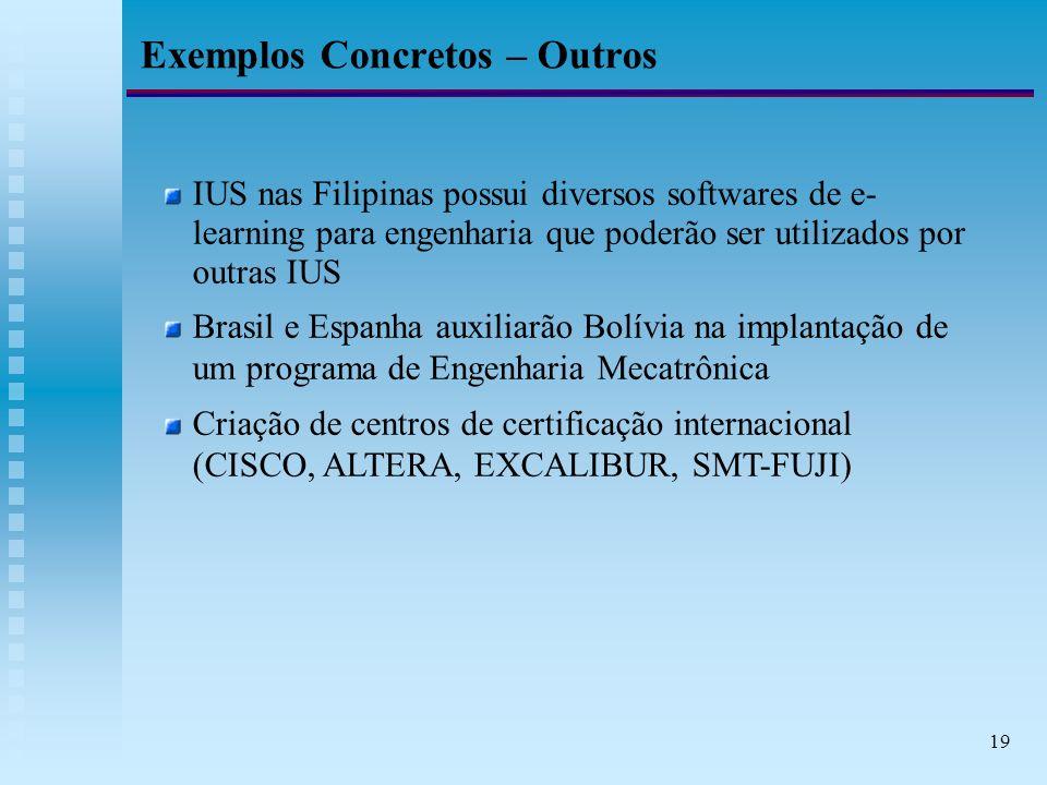 19 Exemplos Concretos – Outros IUS nas Filipinas possui diversos softwares de e- learning para engenharia que poderão ser utilizados por outras IUS Brasil e Espanha auxiliarão Bolívia na implantação de um programa de Engenharia Mecatrônica Criação de centros de certificação internacional (CISCO, ALTERA, EXCALIBUR, SMT-FUJI)