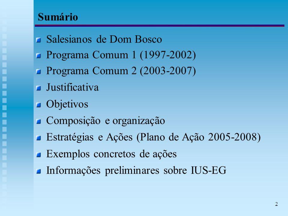 2 Sumário Salesianos de Dom Bosco Programa Comum 1 (1997-2002) Programa Comum 2 (2003-2007) Justificativa Objetivos Composição e organização Estratégias e Ações (Plano de Ação 2005-2008) Exemplos concretos de ações Informações preliminares sobre IUS-EG