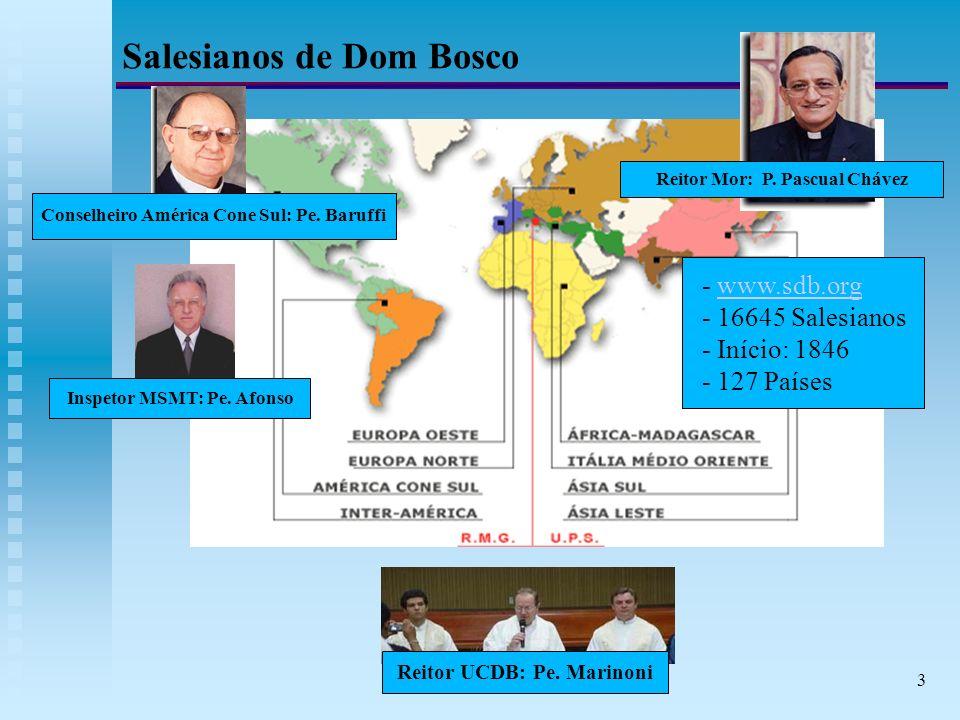 3 Salesianos de Dom Bosco Reitor Mor: P. Pascual Chávez Conselheiro América Cone Sul: Pe.
