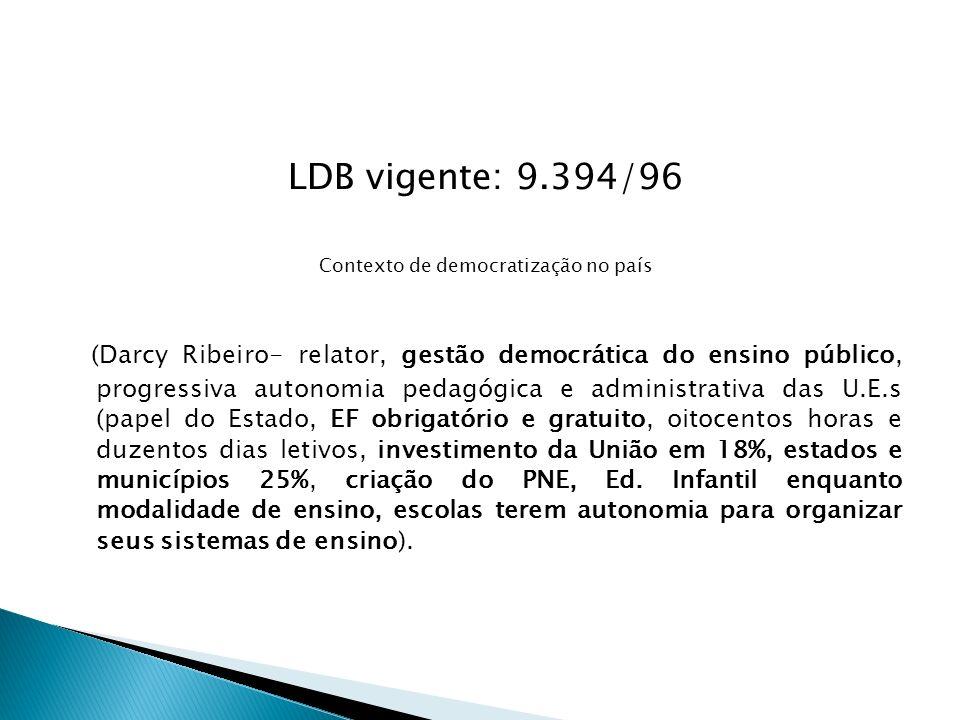 LDB vigente: 9.394/96 Contexto de democratização no país (Darcy Ribeiro- relator, gestão democrática do ensino público, progressiva autonomia pedagógi