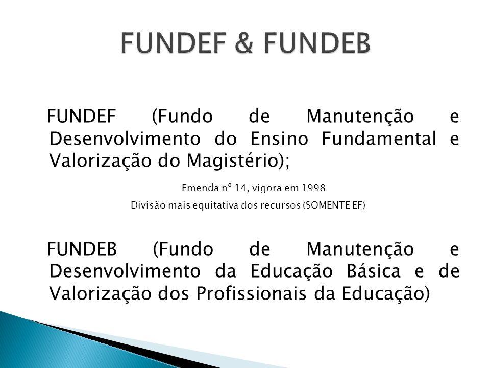 FUNDEF (Fundo de Manutenção e Desenvolvimento do Ensino Fundamental e Valorização do Magistério); Emenda nº 14, vigora em 1998 Divisão mais equitativa
