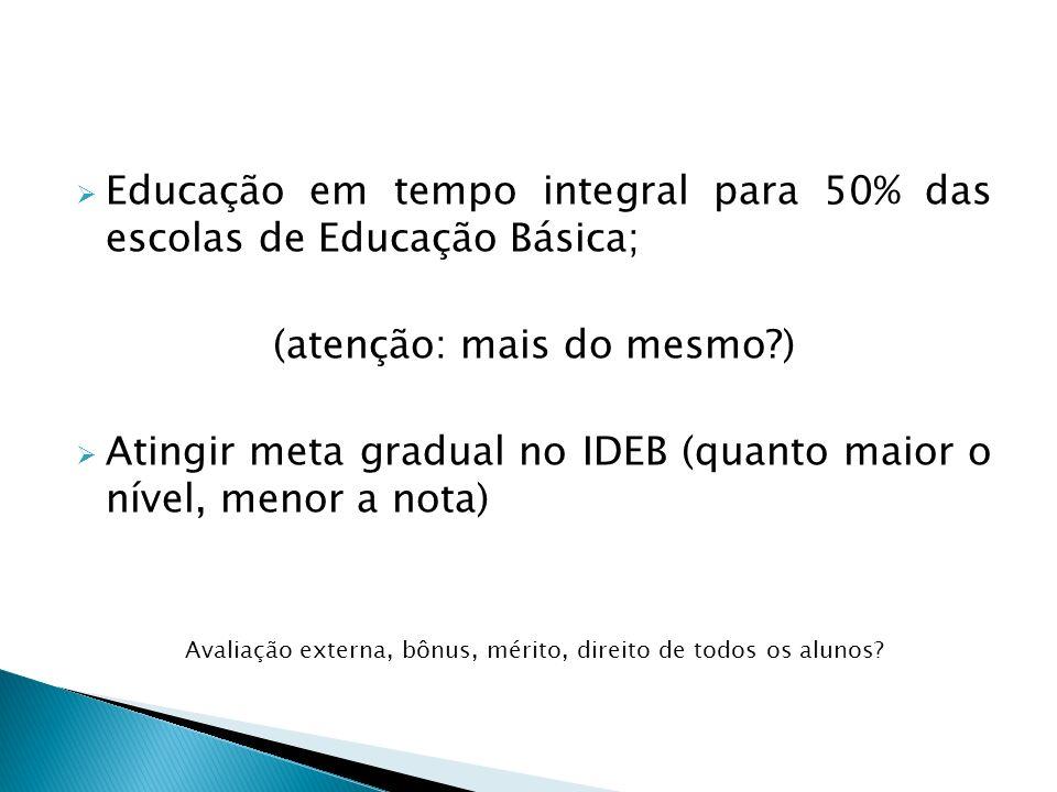 Educação em tempo integral para 50% das escolas de Educação Básica; (atenção: mais do mesmo?) Atingir meta gradual no IDEB (quanto maior o nível, meno
