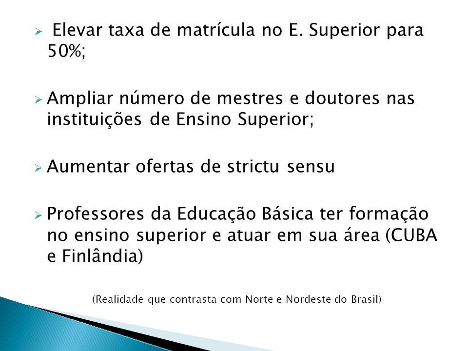 Elevar taxa de matrícula no E. Superior para 50%; Ampliar número de mestres e doutores nas instituições de Ensino Superior; Aumentar ofertas de strict