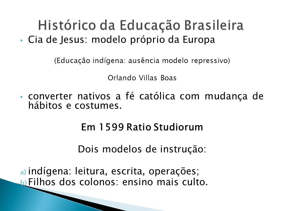 Cia de Jesus: modelo próprio da Europa (Educação indígena: ausência modelo repressivo) Orlando Villas Boas converter nativos a fé católica com mudança