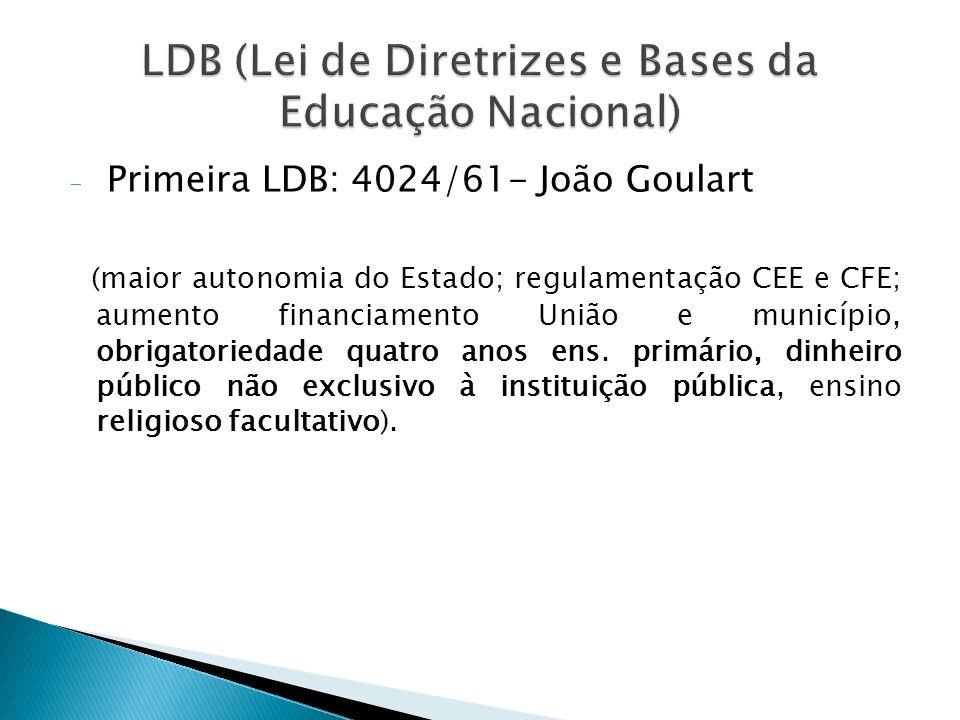 - Primeira LDB: 4024/61- João Goulart (maior autonomia do Estado; regulamentação CEE e CFE; aumento financiamento União e município, obrigatoriedade q
