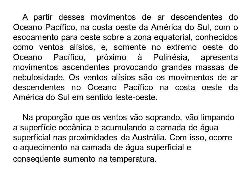 A partir desses movimentos de ar descendentes do Oceano Pacífico, na costa oeste da América do Sul, com o escoamento para oeste sobre a zona equatoria