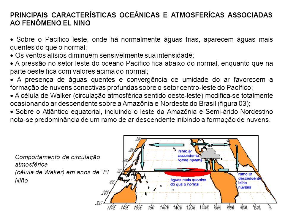 PRINCIPAIS CARACTERÍSTICAS OCEÂNICAS E ATMOSFERÍCAS ASSOCIADAS AO FENÔMENO EL NINO Sobre o Pacífico leste, onde há normalmente águas frias, aparecem á