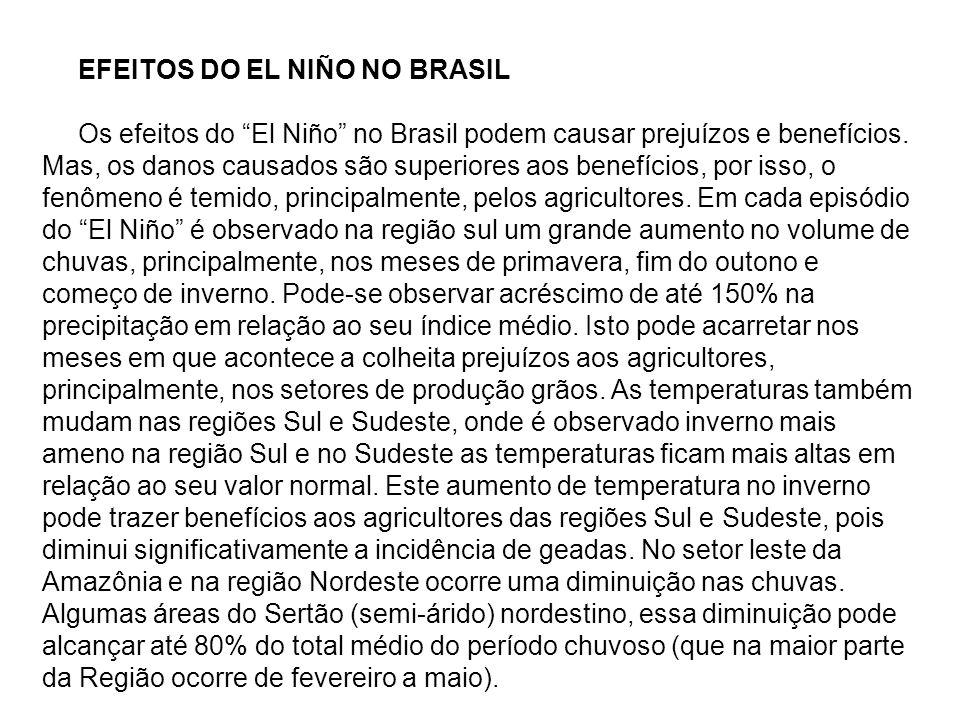 EFEITOS DO EL NIÑO NO BRASIL Os efeitos do El Niño no Brasil podem causar prejuízos e benefícios. Mas, os danos causados são superiores aos benefícios