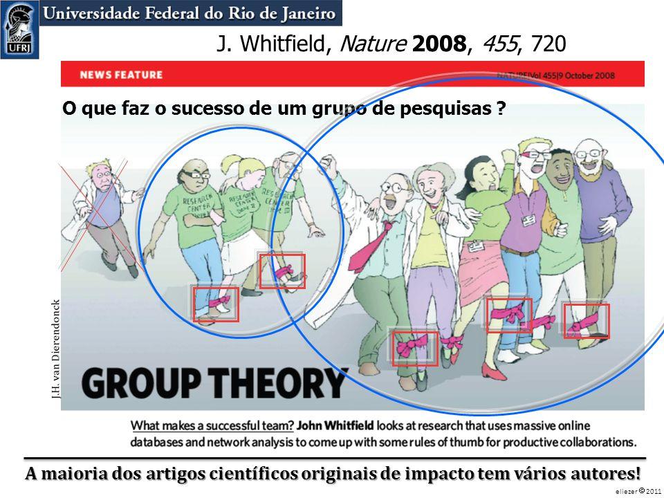 O que faz o sucesso de um grupo de pesquisas ? J. Whitfield, Nature 2008, 455, 720 A maioria dos artigos científicos originais de impacto tem vários a