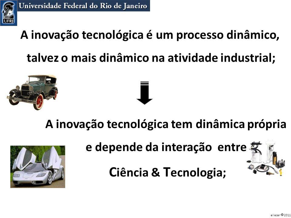 A inovação tecnológica tem dinâmica própria e depende da interação entre C iência & T ecnologia; A inovação tecnológica é um processo dinâmico, talvez
