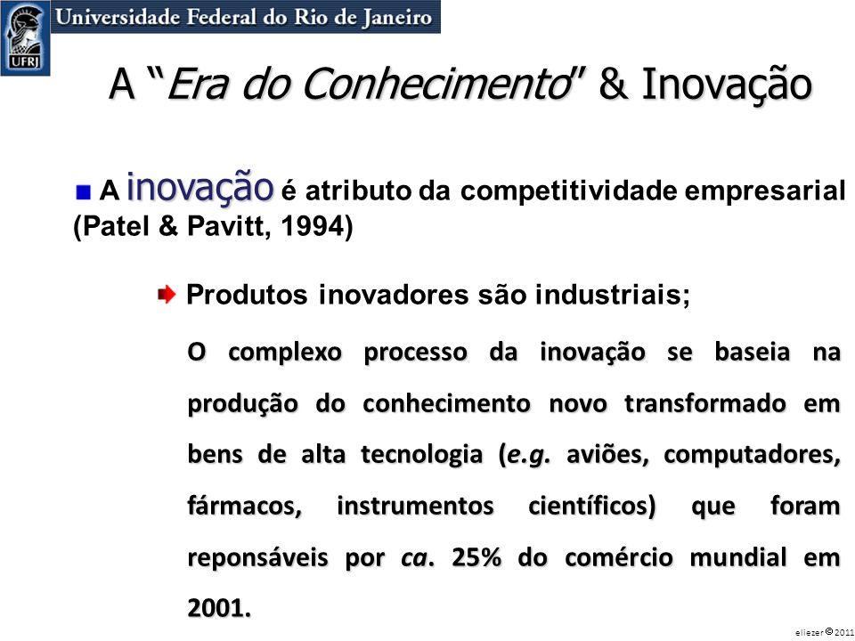 inovação A inovação é atributo da competitividade empresarial (Patel & Pavitt, 1994) Produtos inovadores são industriais; A Era do Conhecimento & Inov
