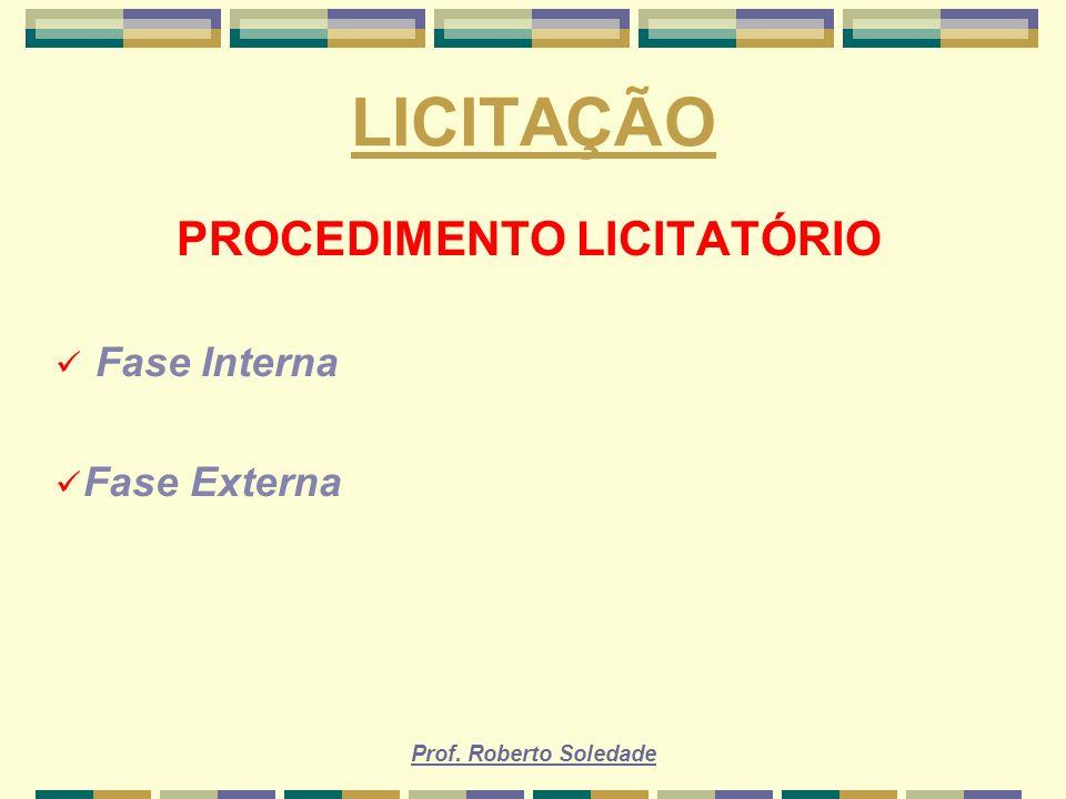 Prof. Roberto Soledade LICITAÇÃO PROCEDIMENTO LICITATÓRIO Fase Interna Fase Externa