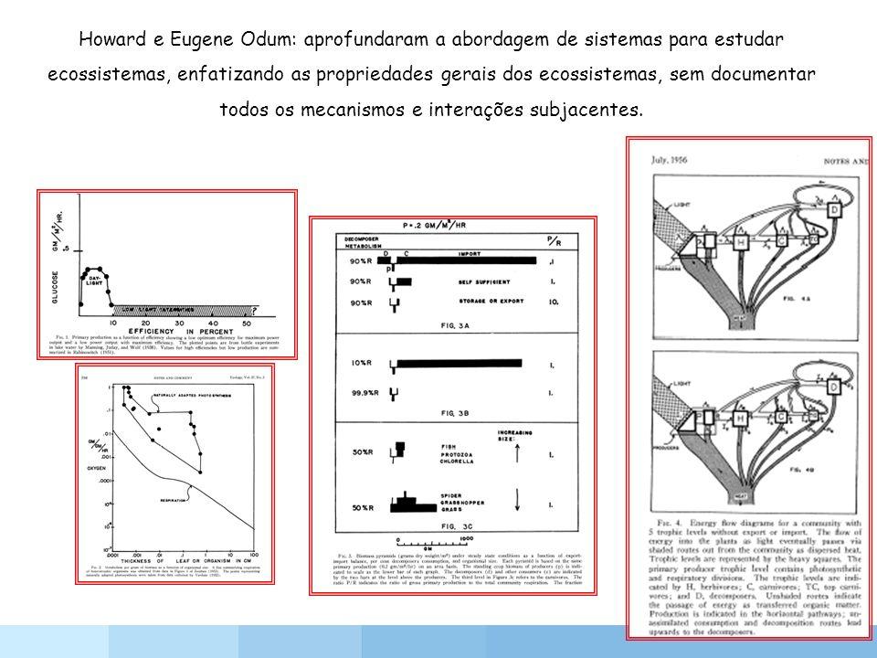 Howard e Eugene Odum: aprofundaram a abordagem de sistemas para estudar ecossistemas, enfatizando as propriedades gerais dos ecossistemas, sem documen