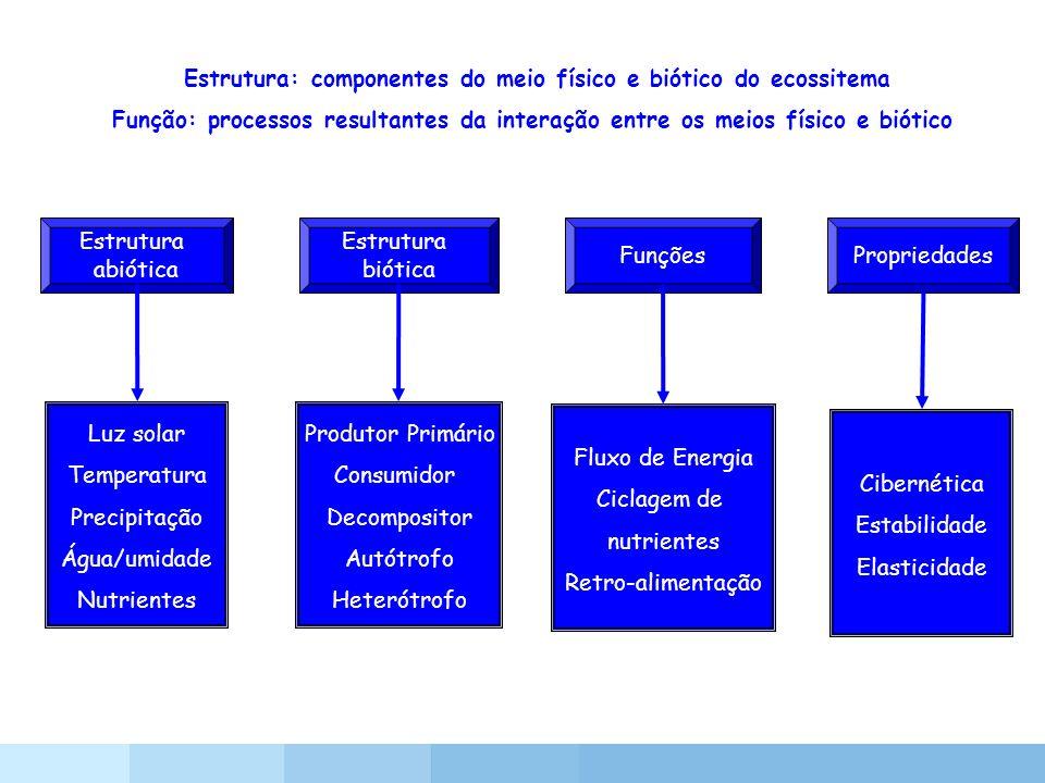 Estrutura: componentes do meio físico e biótico do ecossitema Função: processos resultantes da interação entre os meios físico e biótico Estrutura abi