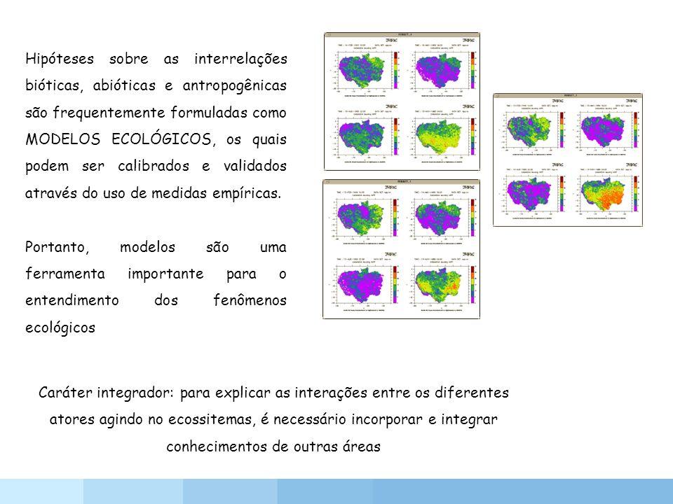 Hipóteses sobre as interrelações bióticas, abióticas e antropogênicas são frequentemente formuladas como MODELOS ECOLÓGICOS, os quais podem ser calibr