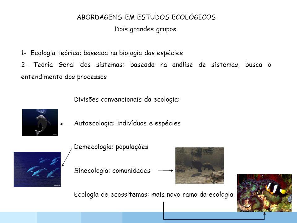 ABORDAGENS EM ESTUDOS ECOLÓGICOS Dois grandes grupos: 1- Ecologia teórica: baseada na biologia das espécies 2- Teoría Geral dos sistemas: baseada na a