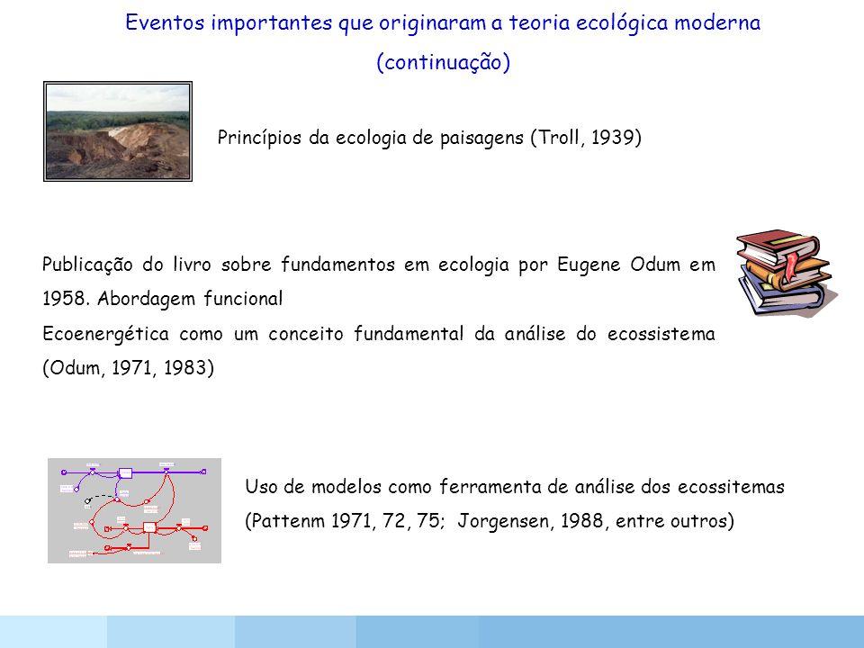 Princípios da ecologia de paisagens (Troll, 1939) Publicação do livro sobre fundamentos em ecologia por Eugene Odum em 1958. Abordagem funcional Ecoen