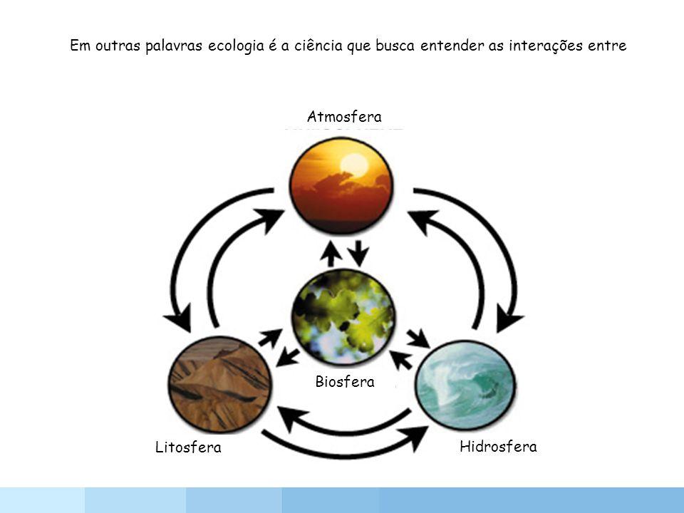 Atmosfera Hidrosfera Litosfera Biosfera Em outras palavras ecologia é a ciência que busca entender as interações entre