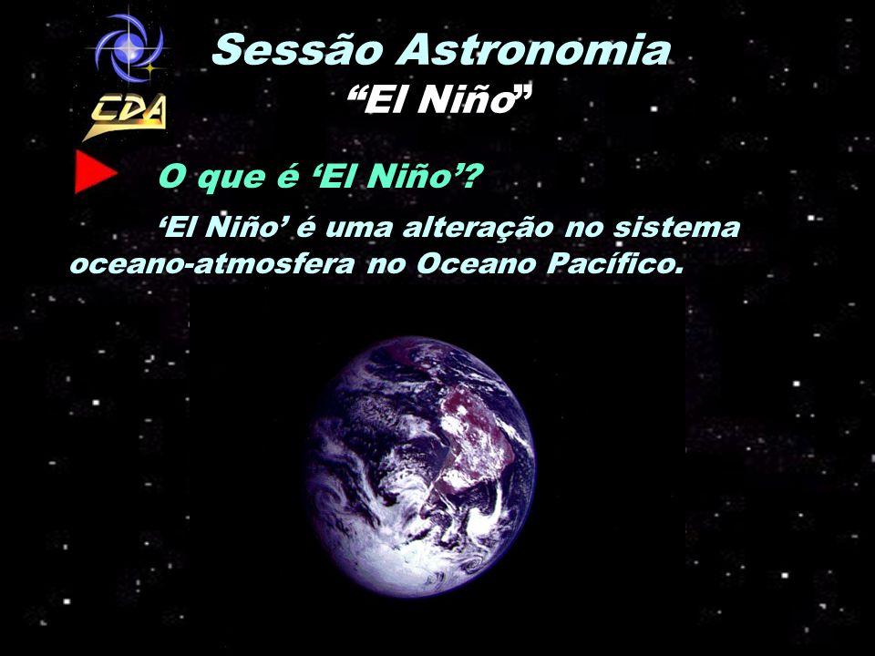 Sessão Astronomia El Niño O que é El Niño? El Niño é uma alteração no sistema oceano-atmosfera no Oceano Pacífico.