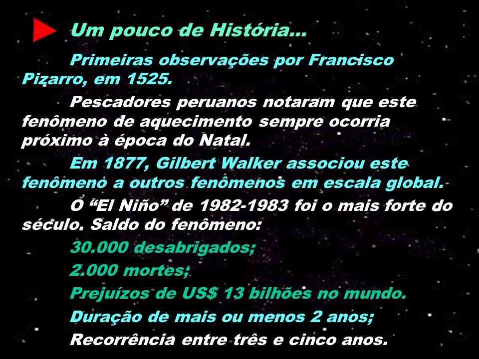 Um pouco de História... Primeiras observações por Francisco Pizarro, em 1525. Pescadores peruanos notaram que este fenômeno de aquecimento sempre ocor