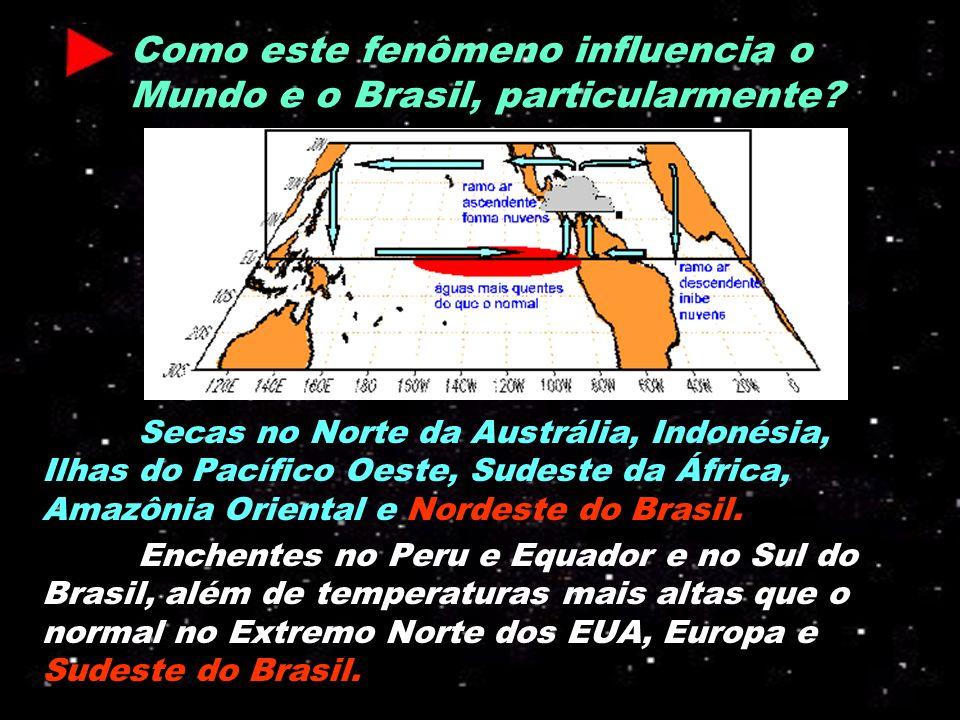 Como este fenômeno influencia o Mundo e o Brasil, particularmente? Secas no Norte da Austrália, Indonésia, Ilhas do Pacífico Oeste, Sudeste da África,