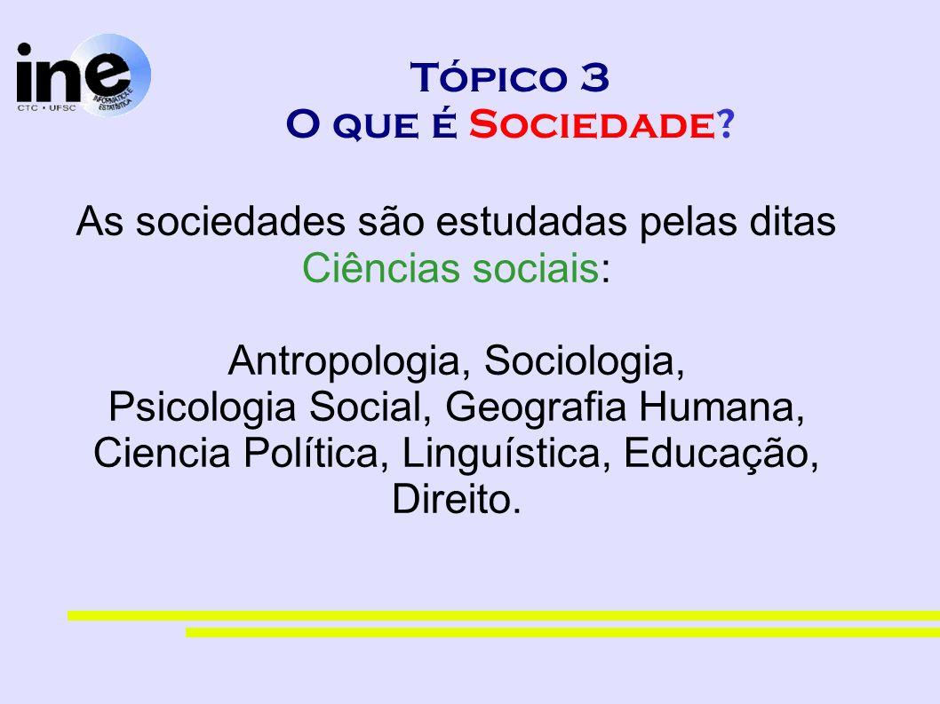 Tópico 3 O que é Sociedade? As sociedades são estudadas pelas ditas Ciências sociais: Antropologia, Sociologia, Psicologia Social, Geografia Humana, C