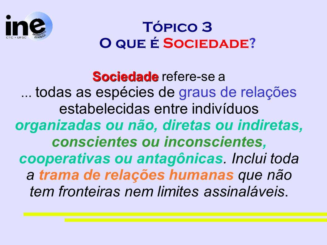 Tópico 3 O que é Sociedade? Sociedade Sociedade refere-se a... todas as espécies de graus de relações estabelecidas entre indivíduos organizadas ou nã