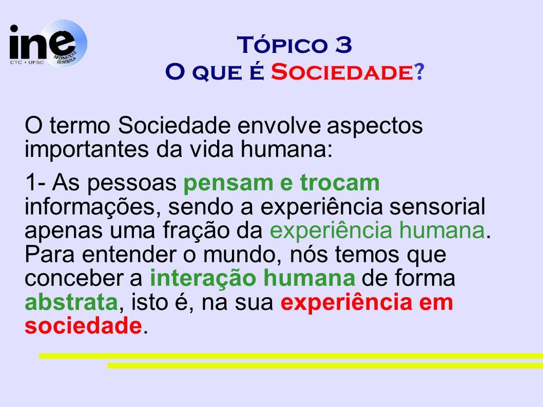 Tópico 3 O que é Sociedade? O termo Sociedade envolve aspectos importantes da vida humana: 1- As pessoas pensam e trocam informações, sendo a experiên