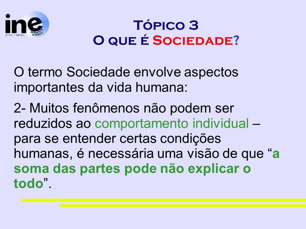 Tópico 3 O que é Sociedade? O termo Sociedade envolve aspectos importantes da vida humana: 2- Muitos fenômenos não podem ser reduzidos ao comportament