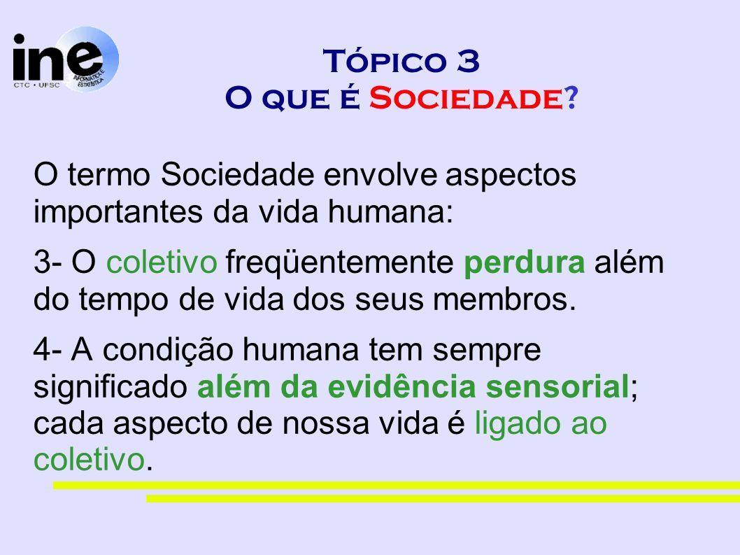 Tópico 3 O que é Sociedade? O termo Sociedade envolve aspectos importantes da vida humana: 3- O coletivo freqüentemente perdura além do tempo de vida