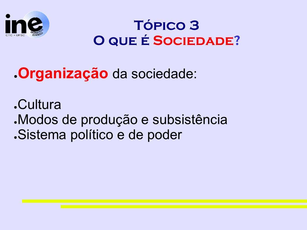 Tópico 3 O que é Sociedade? Organização da sociedade: Cultura Modos de produção e subsistência Sistema político e de poder