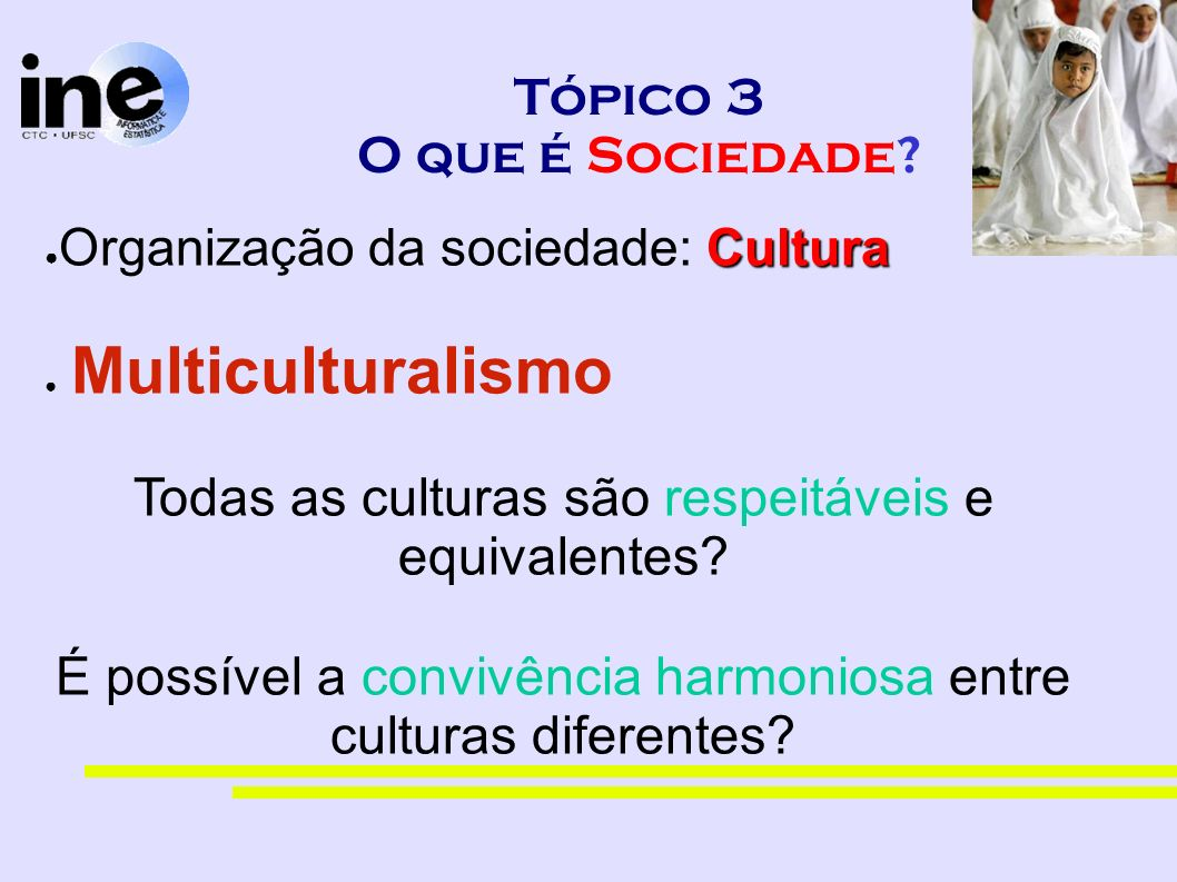 Tópico 3 O que é Sociedade? Cultura Organização da sociedade: Cultura Multiculturalismo Todas as culturas são respeitáveis e equivalentes? É possível