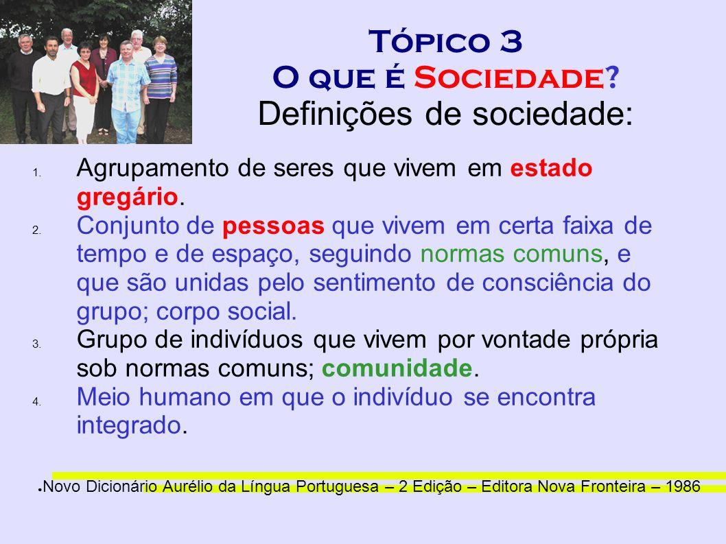Tópico 3 O que é Sociedade? Definições de sociedade: 1. Agrupamento de seres que vivem em estado gregário. 2. Conjunto de pessoas que vivem em certa f
